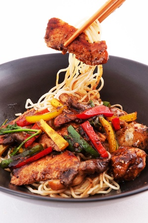 Stir-fried noodles , Chinese cuisine  photo