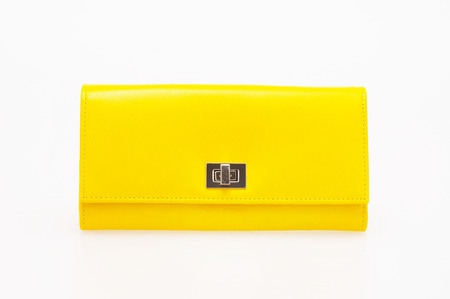 yellow purse on a white background  Stock Photo