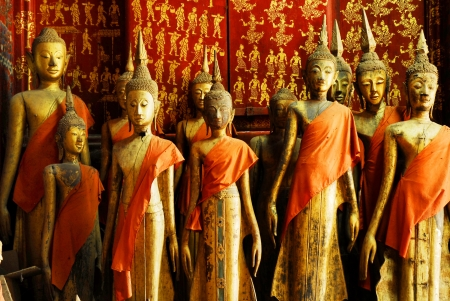 Buddha statues in Wat Xieng Thong in Luang Prabang Laos South East Asia