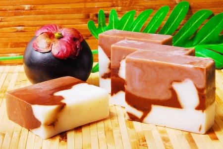 bamboo mat: Handmade soap bars on Bamboo mat