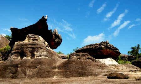 Mushroom stone and blue sky,phu pha thoep National Park,Thailand photo