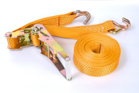 solid wire: Yellow towing rope with metal hooks for car transportation isolated Stock Photo