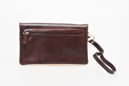 Brown leather wallet with zipper Stock Photo - 16655402
