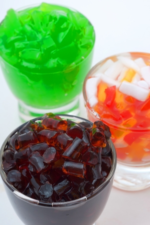 Different colored jelly in Glass photo