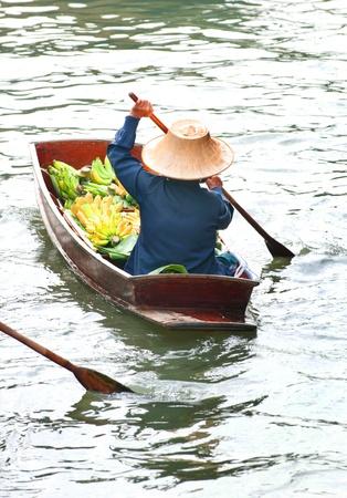 Floating market,Woodenboats, Damnoen Saduak,Thailand  Stock Photo
