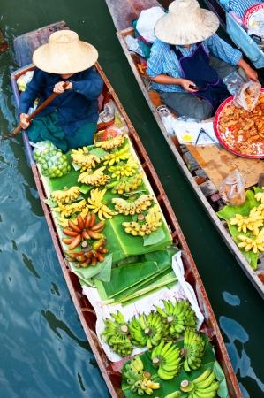 thailand fruit: Floating market,Woodenboats, thailand