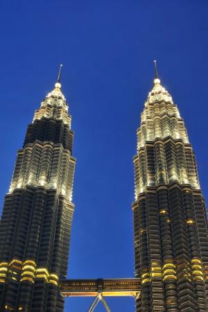KUALA LUMPUR-OCT-20-2012  View of The Petronas Twin Towers at night on October 20, 2012 in Kuala Lumpur, Malaysia Petronas Twin Towers are twin skyscrapers and were tallest twin buildings in the world