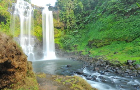 Beautiful Unesco Tad Yueang Waterfall in southern Laos  photo