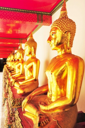 Line of Golden Buddha in Thailand temple ,Bangkok photo
