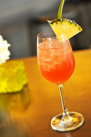 Red tropical cocktail  photo