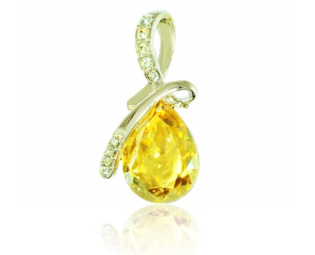 pendent: pendent with big yellow gem and diamonds