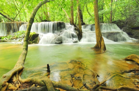 Huay Mae Khamin Waterfall, Kanchanaburi, Thailand Stock Photo - 22337297