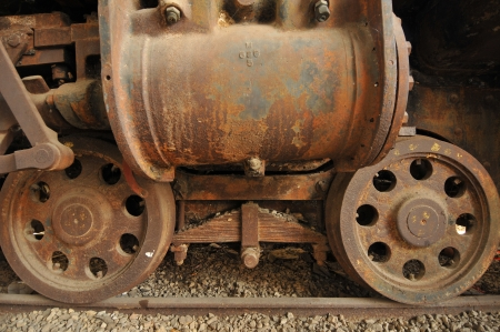 Old locomotive wheels close up photo