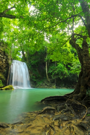 Deep forest waterfall at Erawan waterfall National Park Kanjanaburi Thailand  photo
