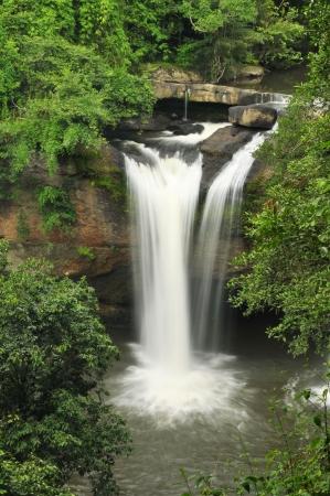 Haew suwat waterfalls in the rainy season in the forest Khao Yai National Park, Thailand  photo