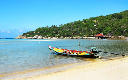 Fishing boats moored along the beach  photo