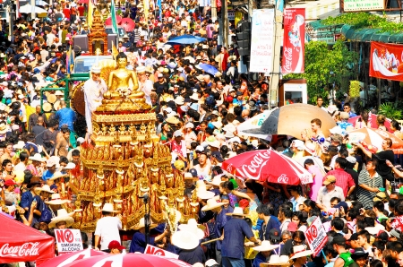 CHIANGMAI THAILAND-APRIL 13 Chiangmai Songkran festival The tradition of bathing the Buddha Phra Singh marched on an annual basis  With respect to faith on April 13,2013 in Chiangmai,Thailand
