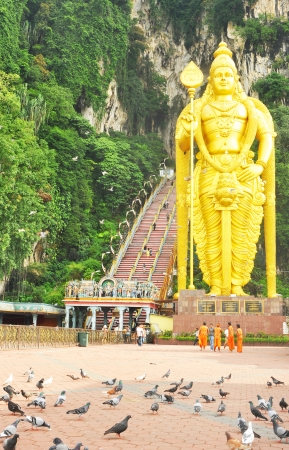 KUALA LUMPUR, MALAYSIA - APRIL 15  Murugan statue at the Batu Caves on April 15, 2012 in Kuala Lumpur  The world s tallest statue of Murugan, a Hindu deity  42 7 m   140 ft