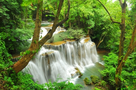 Huay Mae Khamin Waterfall, Kanchanaburi, Thailand photo