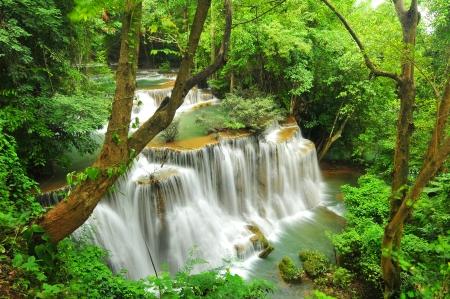 Huay Mae Khamin Waterfall, Kanchanaburi, Thailand Stock Photo - 24261792