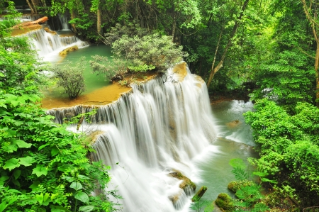 Huay Mae Khamin Waterfall, Kanchanaburi, Thailand Stock Photo - 24261795