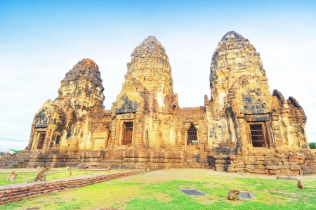 Prang Sam Yot temple in Lopburi, Thailand  photo