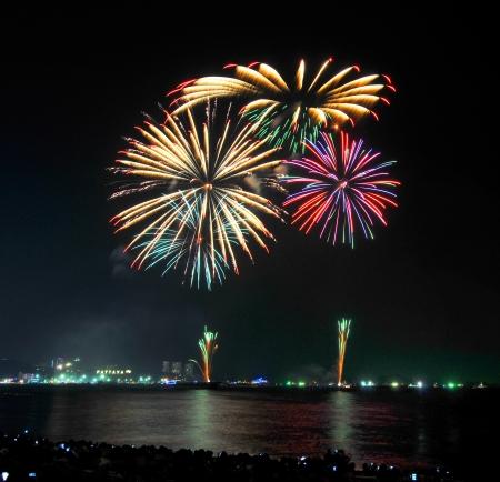 Fireworks new year celebration at Pattaya beach, Thailand  photo
