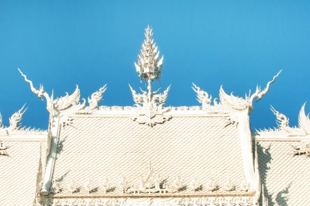 buddhist temple roof: beautiful white buddhist temple roof in chiang rai, thailand