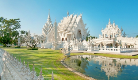 Famous white church in Wat Rong Khun, Chiang Rai province, northern Thailand
