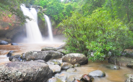 Haew suwat waterfalls in the rainy season in the forest Khao Yai National Park, Thailand  photo
