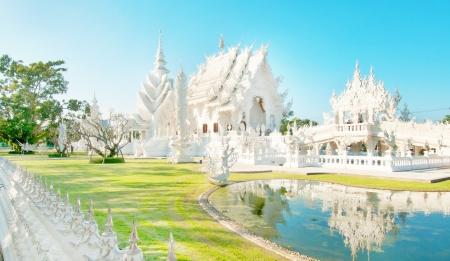 Famous Thailand temple or grand white church Call Wat Rong Khun,at Chiang Rai province, northern Thailand   photo