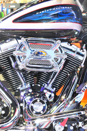 Bangkok thailand - MARCH 27  brand Harley Davidson Motor bike detail - Engine block at  Impact Arena Motorcycle Exhibition March 27, 2014 in bangkok thailand