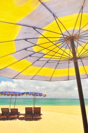 Camp Bed under the umbrella on beach Phuket, Thailand  photo