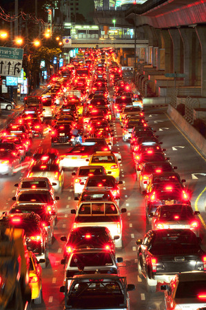 BANGKOK - July 2  Traffic jam in city center on July 2, 2014 in Bangkok, Thailand  Annually an estimated 150,000 new cars join the heavily congested streets of the Thai capital