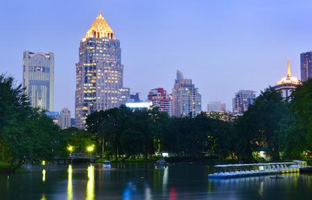 Night view of Bangkok from Lumpini Park, Thailand.