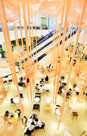 paragon: BANGKOK - OCT 5 : People visit at Siam Paragon on Oct 5, 2014, it is a shopping mall in Bangkok, Thailand which one of the biggest shopping centres in Asia