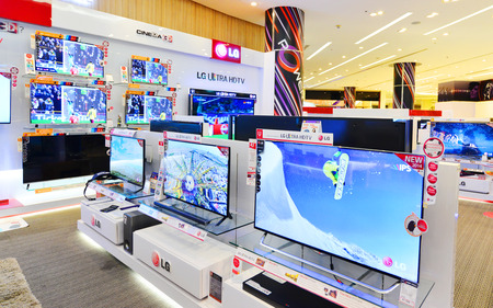 BANGKOK - SEP 22: LCDs display at Power Buy in Siam Paragon , Bangkok on Sep 22, 2014. It is owned by Central Pattana for selling electronic merchandises.