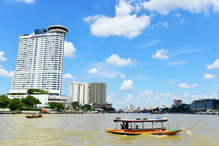 alluvial: BANGKOK - AUG 2: Ferry boat at Chao Phraya River on August 2, 14. The river is a major river in Thailand, with its low alluvial plain forming the centre of the country