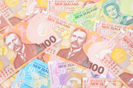 Dollar notes in New Zealand currency. photo