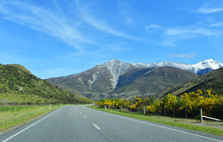 newzealand: Beautiful view of road and mountain in South Island, New Zealand