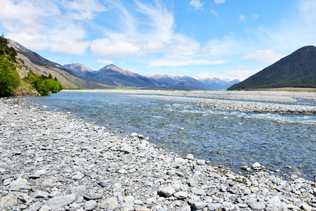 newzealand: Beautiful view and landscape of lake and cloud in South Island, New Zealand