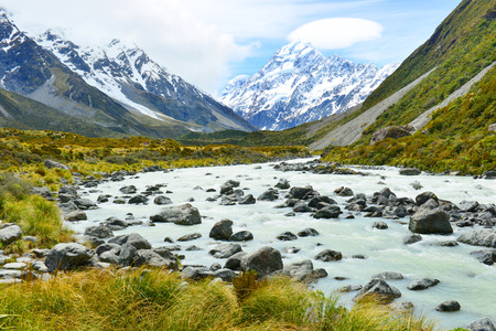 aoraki mount cook national park: Glacial stream between rocks and gravel in Hooker Valley from Aoraki, Mount Cook, highest peak of Southern Alps, an icon of New Zealand