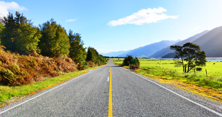 speedway park: Highway road freeway to lake Hawea in Wanaka ,New Zealand