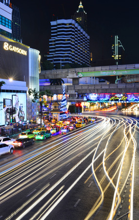 BANGKOK, THAILAND - DECEMBER 26, 2014 : Centralworld shopping mall at night, welcome to Christmas and Happy New Year 2015 festival on December 26,2014 near Ratchaprasong junction in Bangkok, Thailand