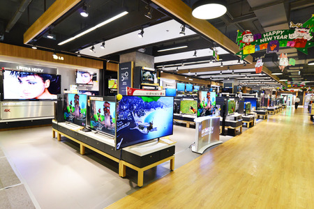 BANGKOK - January 2: LCDs display at Power Buy in Central World, Bangkok on january 2, 2015. It is owned by Central Pattana for selling electronic merchandises