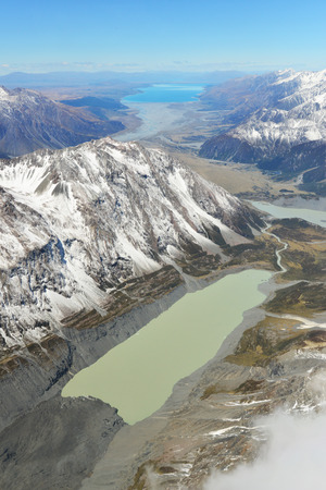 fox glacier: landscape of Mount cook with sea of mist from helicopter