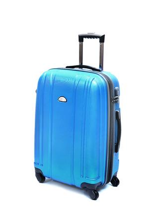 suitcase packing: Travel luggage isolated on the white background Stock Photo