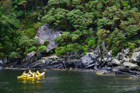 paddler: MILFORD SOUND, NEW ZEALAND, Nov21  :Tourist sea kayak in Waterfall milford sound november 21 2014, Fiordland National Park,New Zealand