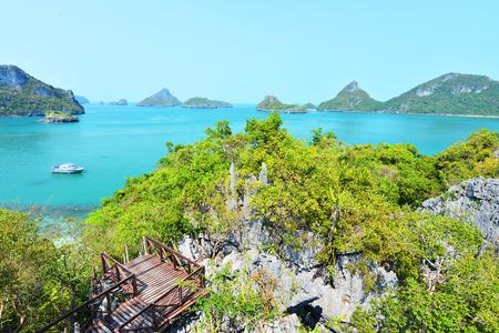 marine bird: Bird eye view of Angthong national marine park, koh Samui, Thailand Stock Photo