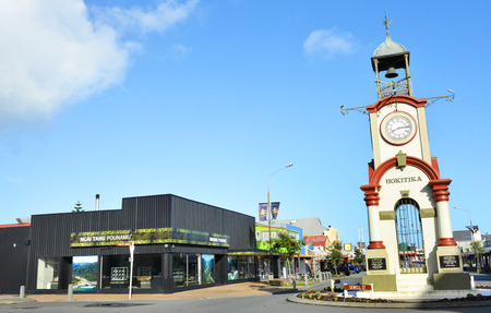 pioneering: HOKITIKA, NEW ZEALAND -NOV 15: Hokitika Clock Tower in Central business district on November 15, 2014 in Hokitika, New Zealand. Hokitika is a township in the West Coast Region of the South Island.